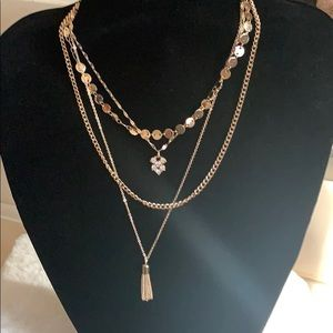 Gold color layering necklace